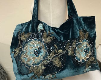 Turquoise Velvet Tote with Embroidered Appliqué