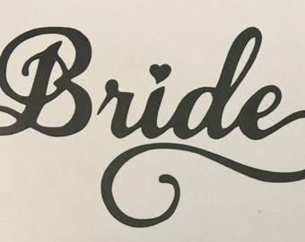 Wedding Vinyl Decals, Bride & Groom, wine glass decal, champagne glass decal, wedding champagne glass