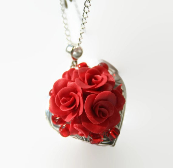 Red rose heart locket necklace valentines gift locket mozeypictures Choice Image