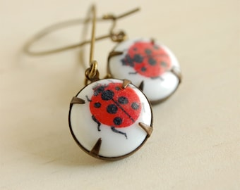 red ladybug earrings, ladybeetle dangles, entomology earrings, ladybird earrings, simple ladybug earrings, for her