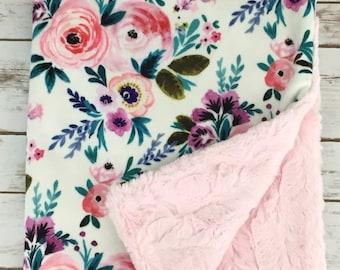 Minky Baby Blanket - Floral Baby Blanket - Stroller Blanket - Watercolor Baby Blanket - Baby Blanket -  Baby Girl Blanket - Baby Shower Gift