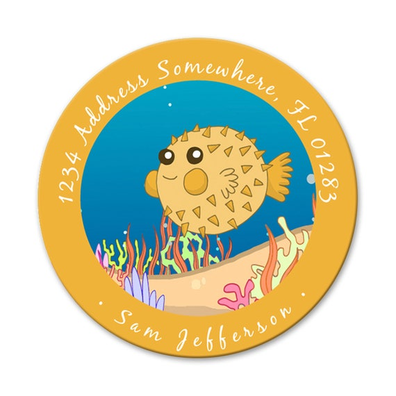 Blowfish return address labels custom name sticker kids address labels pen pal stickers 2 inch round sticker blowfish stationary