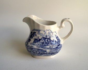 Vintage Transferware Creamer , Blue & White Meadowsweet by Ridgway England , Small Pitcher , Rural English Scenic Transferware