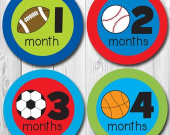 Monthly Baby Stickers, Sports Themed Baby Stickers, Soccer, Baseball, Football, months 1-12, milestone stickers, Baby Monthly