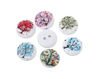 50 buttons round floral tree 1.5 cm