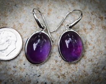 Amethyst Cabochon Earrings - February birthstone earrings - Amethyst dangle earrings - Amethyst earrings - Sterling Silver - Amethyst
