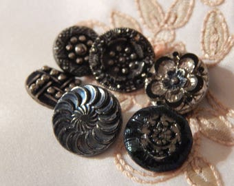 Blue and Silver Luster Black Glass Buttons - 6