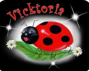 """Ladybug Mouse Pad Sweetie Personalize Gifts Office Computer Girls Ladies Teens Ladybugs 1/4"""" Thick Mousepad"""