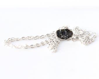 Raw Diamond Necklace, Raw Stone Necklace, Raw Diamond Pendant, Dainty Sterling Silver Crystal Necklace, April Birthstone, Diamond Jewelry