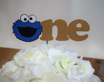 Cookie Monster Cake Topper, Sesame Street Cake Topper, One Cake Topper, Cookie Monster Birthday Topper, Cookie Monster, Elmo, Sesame Street