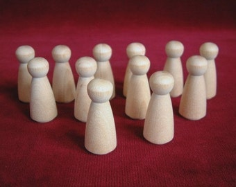 12 No. 2 Small Angel or Girl Doll Peg Unfinished Hardwood