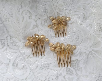 Gold Bridal Hair Comb, Crystal, Pearl Hair Comb, Gifts for Her, Gold Leaf Comb, Bridal Comb, Boho Hair Comb, SmallComb 1 (G)
