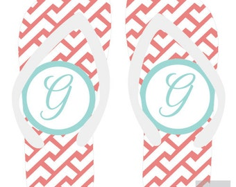 ZIG ZAG personalized monogram flip flops for adults and kids