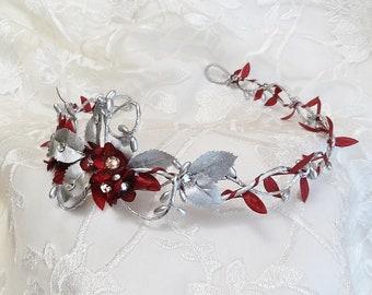 burgundy and silver wedding headband, burgundy wedding headband, silver bridal headpiece, bridal hair piece, Swarovski crystals, headpiece