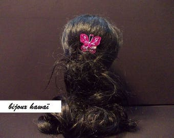Butterfly hair comb pink fushia & rhinestones