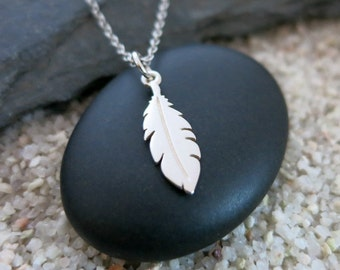 Silver Feather Necklace, Sterling Silver Feather Charm, Feather Jewelry