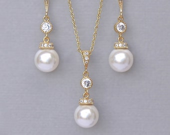 Gold Bridal Jewelry SET, Pearl Necklace and Earrings SET,  Pearl Bridesmaids Jewelry Set, Wedding Jewelry Set, SISSY