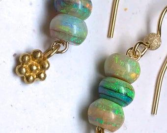 Opal dangle earrings Sterling Opal blue earrings October birthstone Opal jewelry opal dangles gift for her sterling opal drops gold filled