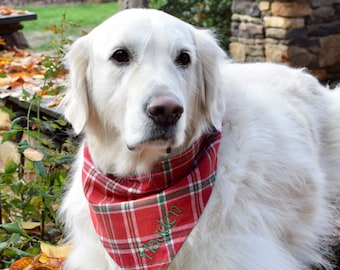 Red Flannel Plaid Dog Bandana    Personalized Reversible Pet Scarf    Custom Puppy Gift by Three Spoiled Dogs