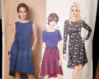 Butterick Pattern 6086 Fast and Easy Dress, short sleeve, no sleeve, long sleeve size 6-8-10-12-14, 2014