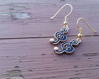 Black Treble Clef Charm Earrings - Musician jewelry - Music Lover Charms - Band, Orchestra, Choir Accessories - Gift Ideas