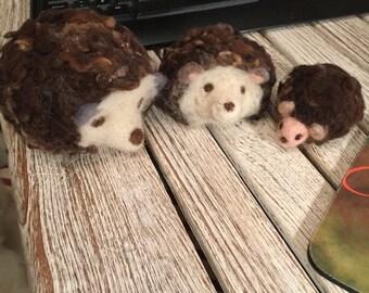 hedgehog in carded wool