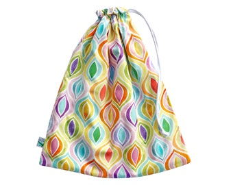 Watercolours Swim Bag. Perfect for the Beach or Pool. Waterproof Drawstring Bag. Wet Bag. Beach Bag. Ogee Rainbow Pattern. Wet Dry Bag.