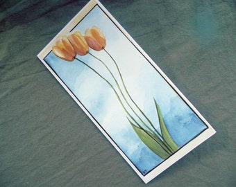 Watercolor painting, Tulip Watercolor Greeting Card, Hand Painted, Handmade Greeting Card, Orange - Yellow Tulips Painting