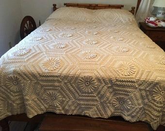 Vintage Handmade Crocheted Bedspread-Excellent