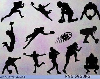 American football players, silhouettes, Football player, silhouettes clipart,digital download