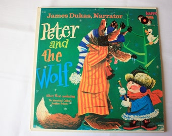Vintage Peter and the Wolf Record,  Happy Time Record, Peter and The Wolf LP, Peter and the Wolf Music, James Dukas Narrator,