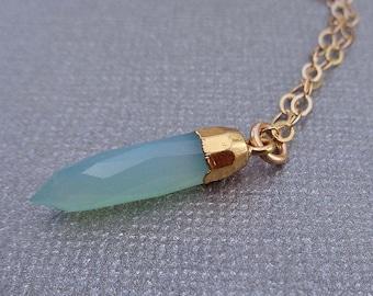 Aqua Blue Spike Necklace / Blue Chalcedony Gold / Gold Cap Aqua Spike / Natural Stone Necklace // GP2