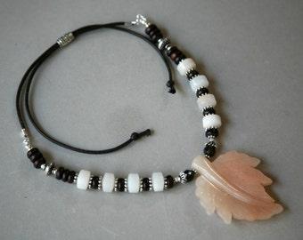 Peach Jade Leaf Pendant, Rhondelles and Wood Bead Adjustable Corded Necklace