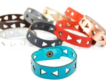 Leather Bracelet - Triangle Pattern - Geometric Laser Cut Leather Cuff (Choose Your Color and Size)