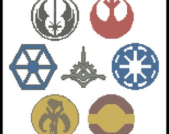 BOGO FREE! cross stitch  - Star wars  Symbols -Emblem Rebel Alliance -Mandalorians- PREQUEL -  pdf pattern instant download #11
