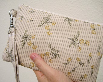 WEDDING CLUTCH wristlet, 2 pockets, medium, cotton, bridesmaid, travel, cosmetic bag, gift for her - floral flowers