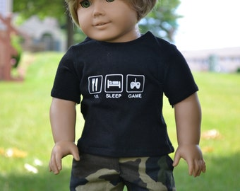 18 inch Doll Clothes, Graphic T-shirt, Eat Sleep Game, Gamer Style, Boy Doll Clothes, Black Tee, fits American Girl - MADE TO ORDER