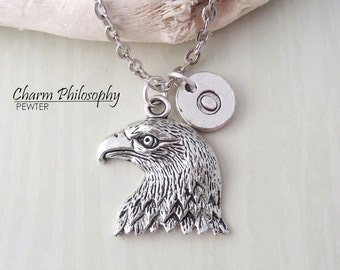 Hawk Head Necklace - Eagle Head Pendant - Antique Silver Jewelry or Keychain - Personalized Monogram Initial Necklace