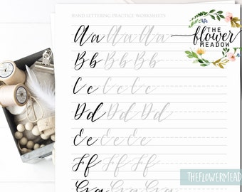 Hand Lettering Guide Modern Worksheets Practice Wedding Calligraphy Tutorial Learn Brush Alphabet 03