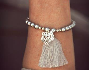 Women bracelet, Bracelet beads, gray tassel Bracelet, gray, silver, Bracelet charms, silver Tiger Charm Bracelet Bracelet