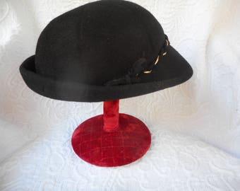 Vintage Black Wool Felt Hat Glenover by Henry Pollak-1940's Style
