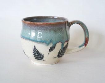 Blue | Teal | Burgandy | Mug | Ceramic | Wheel Thrown | Handmade | Fern | Botanical | Boho Chic