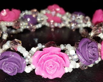 Beaded Bangle Pink & Purple roses