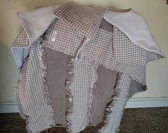 frayed flannel baby blanket 32 x 40, burp cloth, bib and binky cloth