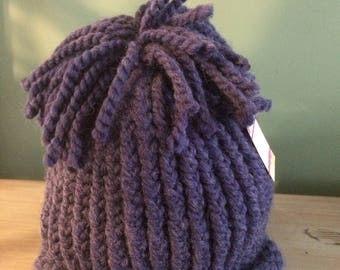 One of a Kind Hand Knitted Acrylic/Wool Blend Winter Pom-Pom Hat
