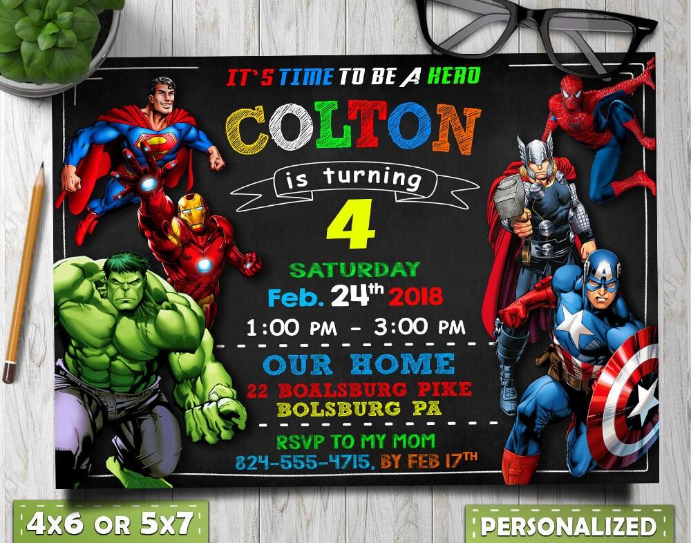 Avengers Birthday Invitation Avengers Invitation Avengers