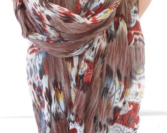 Cowl Scarf Crinkle Scarf  Brown Scarf Shawl  Winter Fashion Scarf Accessories       Holiday Gift For Women Gift For Her Women Scarf