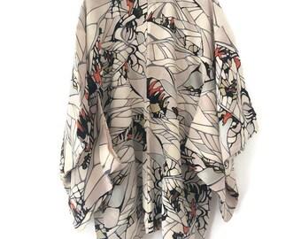 Vintage Silk Kimono | Antique Kimono | 50s Japanese Dressing Gown | 1930s - 1950s Jacket Robe | Handmade Hand Painted |  Haori Men Women