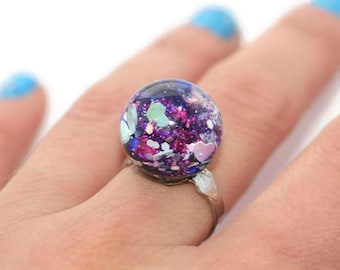 Sphere Ring Orb Resin Ring Purple and Blue Holo Ring Holographic Sparkly Glitter Jewelry Kandikookiez Rings