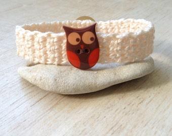 Owl Bracelet Cute Button Crochet Preteen Teen Adult Birthday Party Favor BFF Gift Friendship Bracelet Woodland Creature Nature Orange Brown